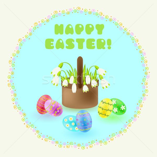 Пасху приветствие окрашенный яйца плетеный Сток-фото © TasiPas