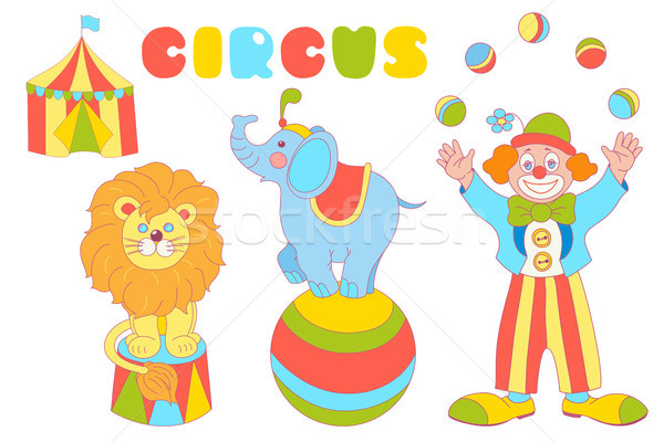 Circus characters clown, elephant, lion vector set Stock photo © TasiPas