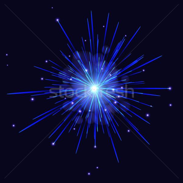 Vector blue shades fireworks holidays background. Stock photo © TasiPas