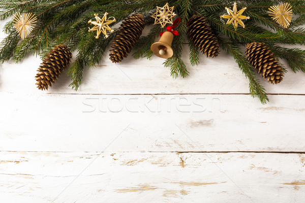 Christmas background wooden jingle bell Stock photo © TasiPas