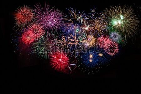 Stock fotó: Elképesztő · ünneplés · tarka · pezsgő · tűzijáték · negyedike