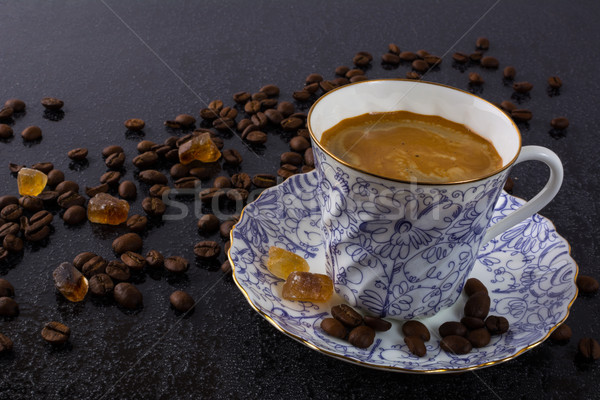 Tasse café cassonade matin pause café fort Photo stock © TasiPas