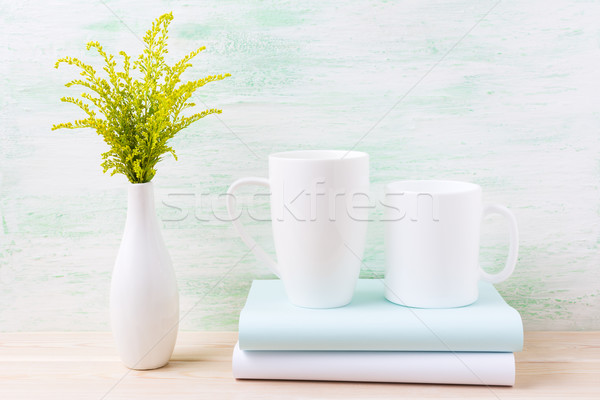Two white coffee and cappuccino mug mockup with green grass  Stock photo © TasiPas
