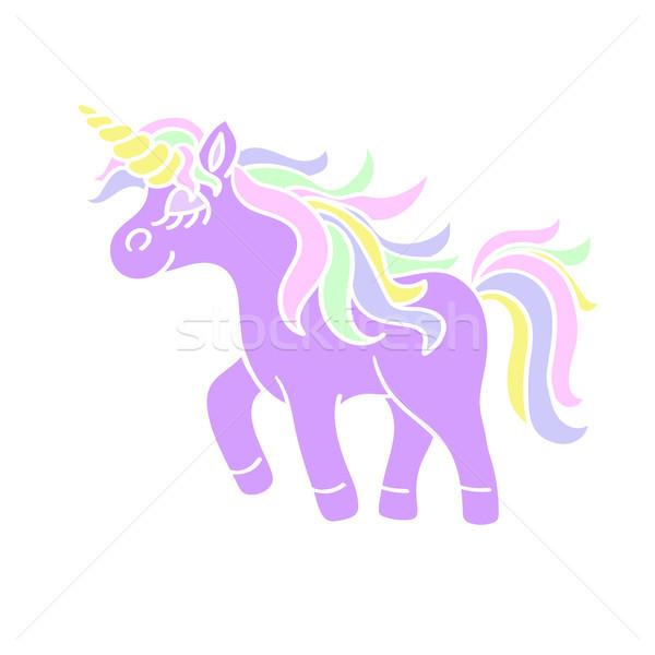 Walking unicorn icon on the white background Stock photo © TasiPas