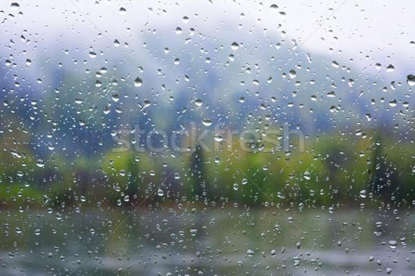 Rio ver janela chuvoso dia chuva Foto stock © TasiPas