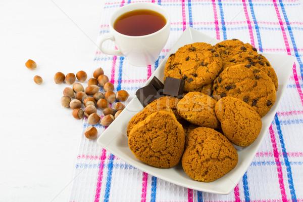 Thee cookies hazelnoten eigengemaakt biscuit dessert Stockfoto © TasiPas