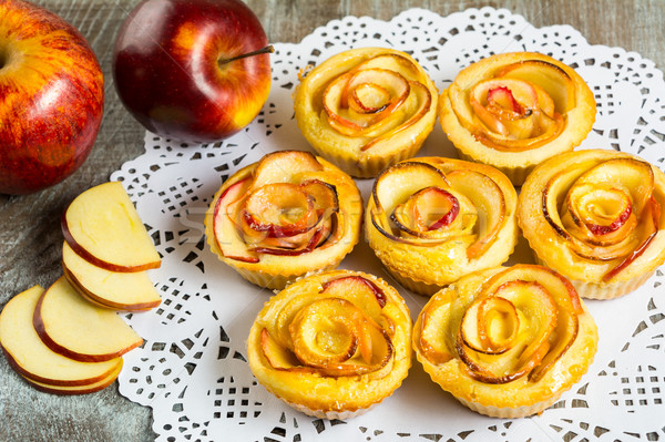 Puff apple shaped roses muffins Stock photo © TasiPas