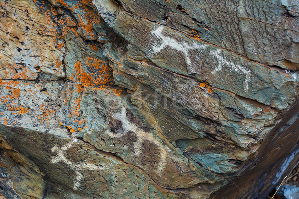Mesolithic Petroglyphs carved in rocks Stock photo © TasiPas