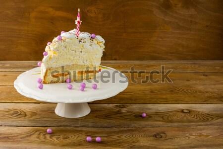 Birthday meringue cake on the wooden table Stock photo © TasiPas
