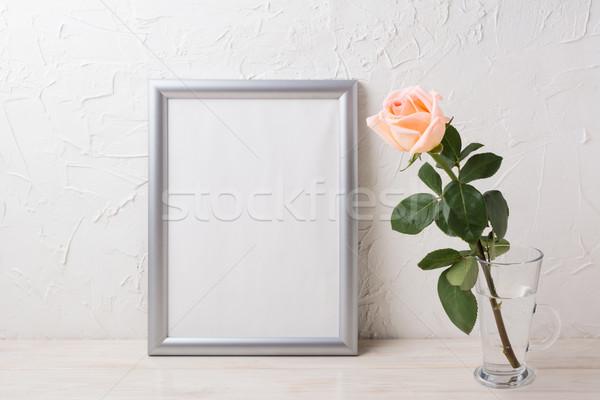 Gümüş çerçeve kremsi cam Stok fotoğraf © TasiPas