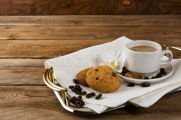 Tea and cookies on serving tray Stock photo © TasiPas