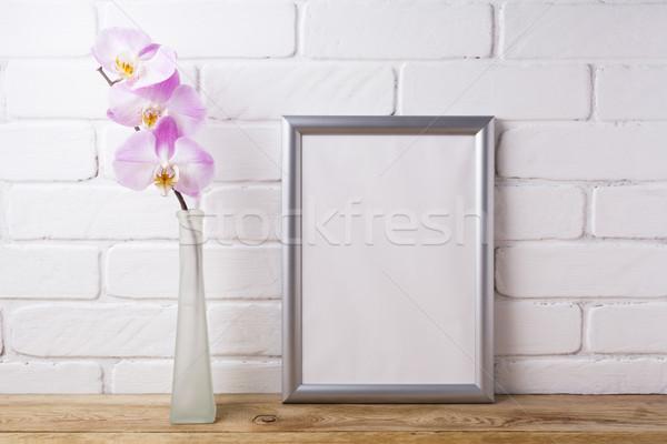 Argento frame tenero rosa orchidea Foto d'archivio © TasiPas