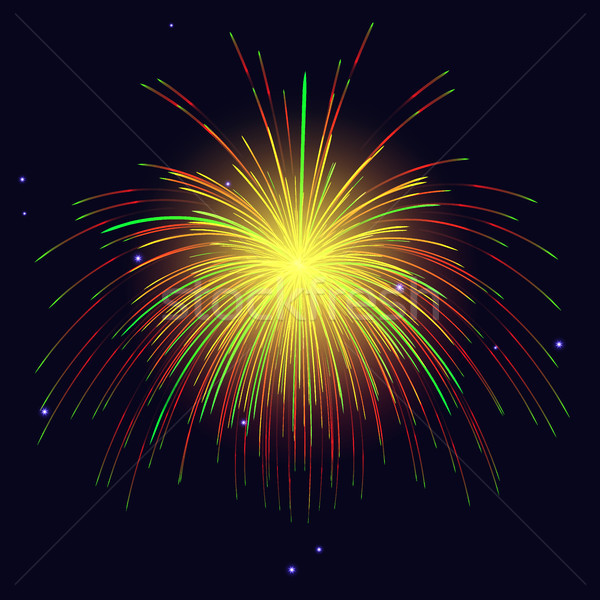 Golden green red fireworks holidays background Stock photo © TasiPas