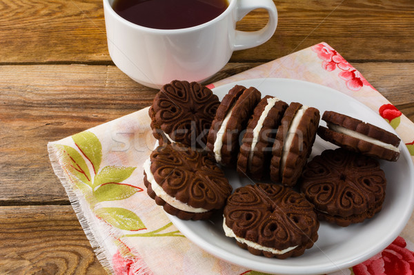 Caseiro chocolate sanduíches topo ver bolinhos Foto stock © TasiPas