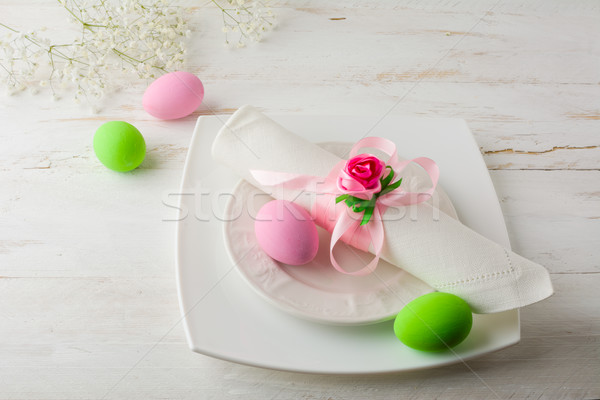 Pink and green Easter table place setting  Stock photo © TasiPas