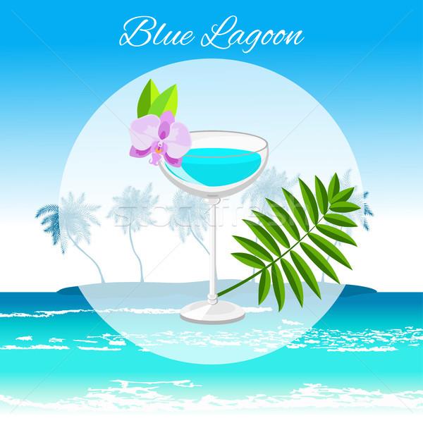 Blue Lagoon cocktail  on the seaside background Stock photo © TasiPas