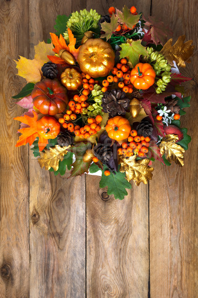 Thanksgiving front door wreath with fall leaves Stock photo © TasiPas