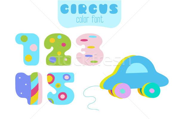Cartoon stile numeri blu giocattolo auto Foto d'archivio © TasiPas