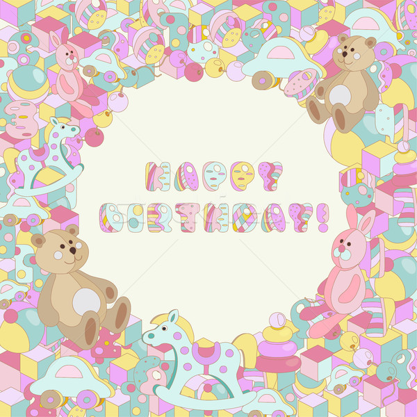Happy Birthday vector pastel baby toy illustration Stock photo © TasiPas