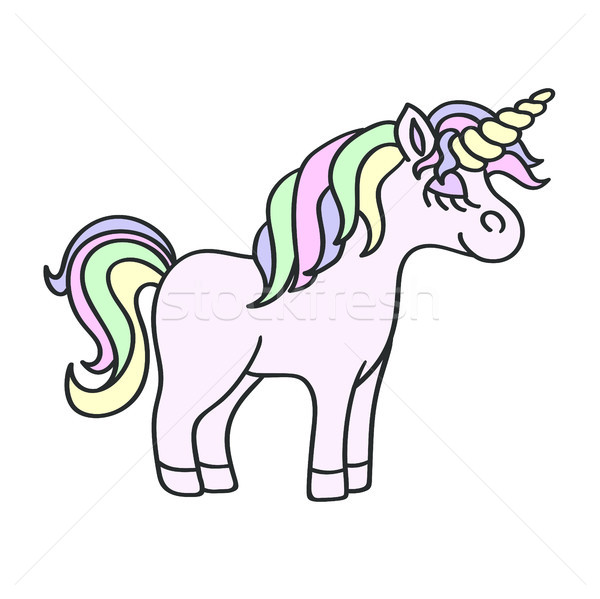 Hand drawing unicorn  sketchisolated on the white  Stock photo © TasiPas