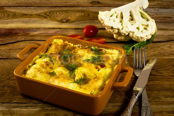 Cauliflower in baking dish Stock photo © TasiPas