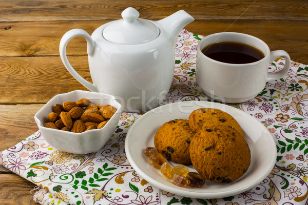 Beker thee theepot zoete dessert eigengemaakt Stockfoto © TasiPas