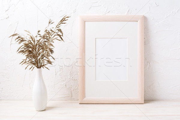 Wooden frame mockup with dried grass Stock photo © TasiPas