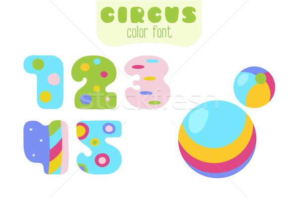 Cartoon style numbers 1, 2, 3, 4, 5 and balls Stock photo © TasiPas