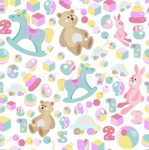 Ninos juguetes pastel Cartoon estilo Foto stock © TasiPas