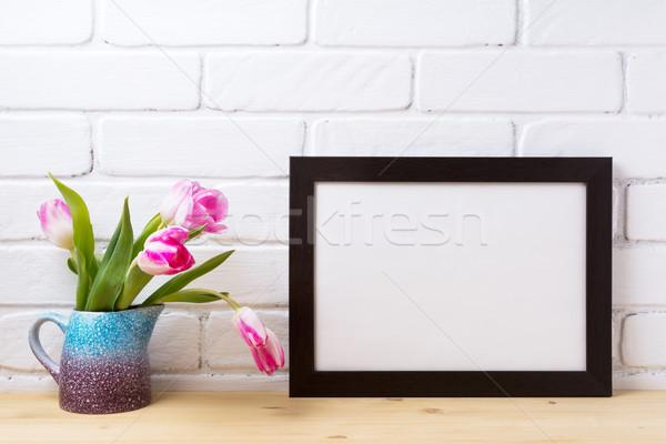 Fekete barna tájkép keret vázlat rózsaszín Stock fotó © TasiPas