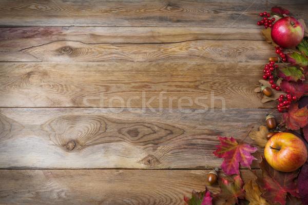 Action de grâces pommes baies automne laisse vieux Photo stock © TasiPas