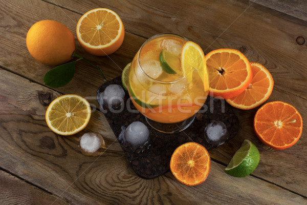 Summer drink on wooden table, top view Stock photo © TasiPas
