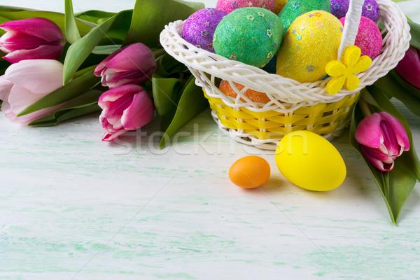 ストックフォト: イースター · 黄色 · バスケット · 卵