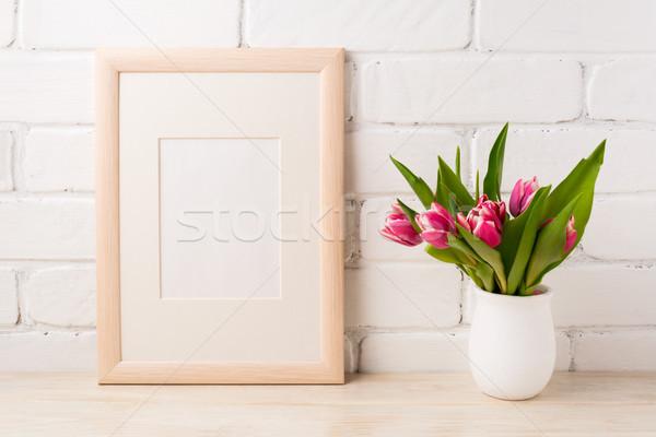 Fakeret vázlat magenta tulipánok virágcsokor rózsaszín Stock fotó © TasiPas