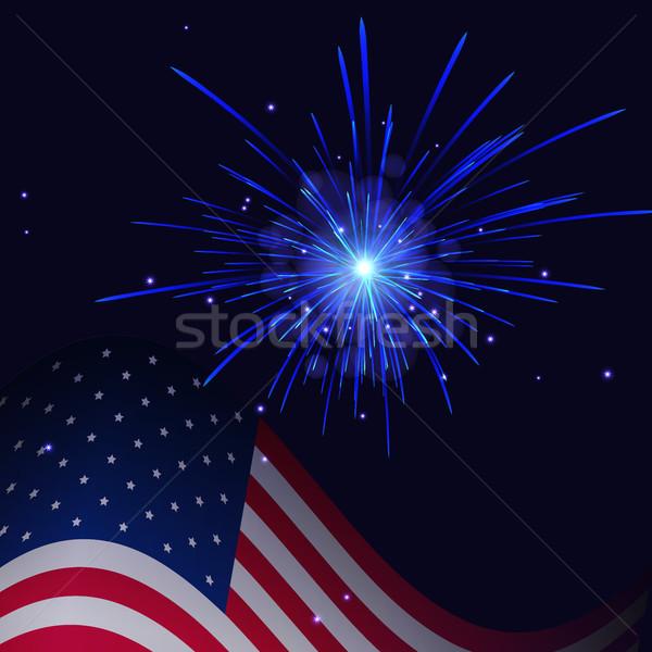 Branco azul fogos de artifício Estados Unidos bandeira celebração Foto stock © TasiPas