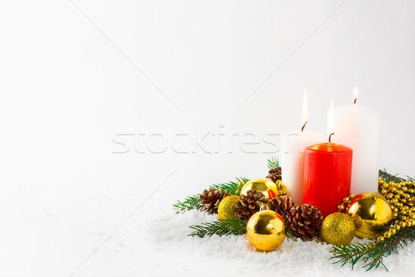 Natal ardente velas neve saudação cópia espaço Foto stock © TasiPas