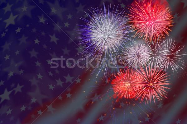 Uroczystości fajerwerków amerykańską flagę piękna dzień Zdjęcia stock © TasiPas