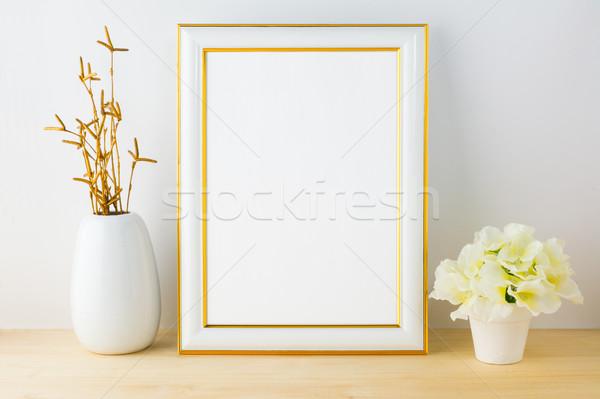 Frame mockup with white flowerpot Stock photo © TasiPas