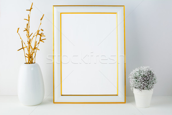 Frame mockup with small cactus Stock photo © TasiPas