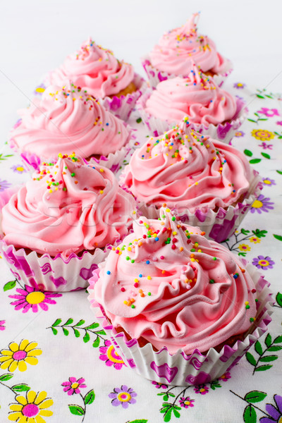 Pink birthday cupcakes  with whipped cream Stock photo © TasiPas