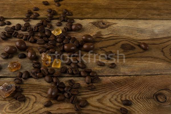 Kávé magvak barnacukor kávé ital fekete Stock fotó © TasiPas