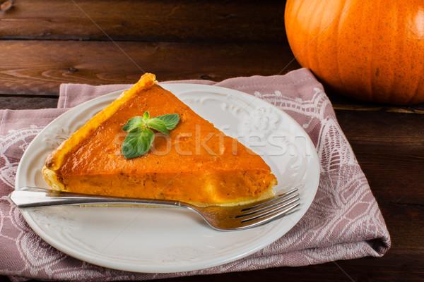 Pumpkin pie linen napkin Stock photo © TasiPas