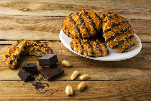 Photo stock: Chocolat · arachide · cookies · maison · plaque · déjeuner