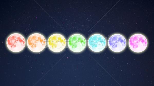 Csetepaté szivárvány színes tele csillagos ég telihold Stock fotó © TasiPas