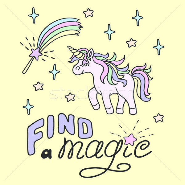 Walking unicorn and magic wand with Find a magic lettering  Stock photo © TasiPas
