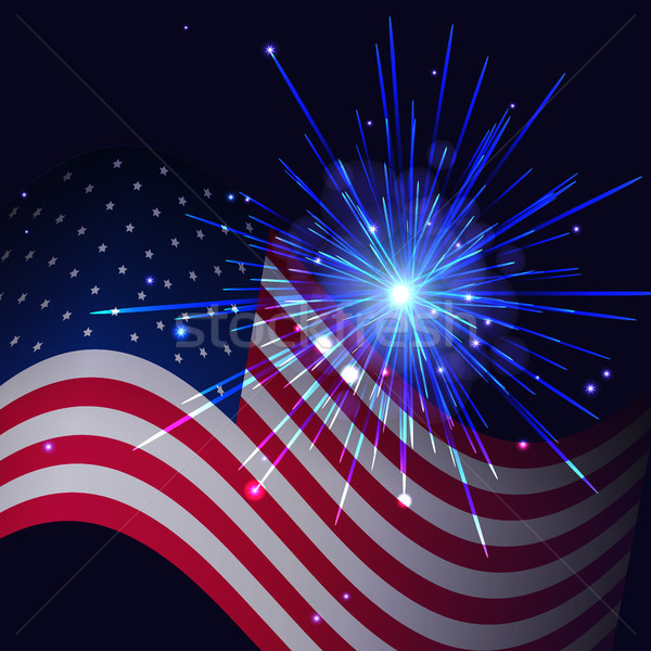 Radiant blue fireworks and United States flag Stock photo © TasiPas
