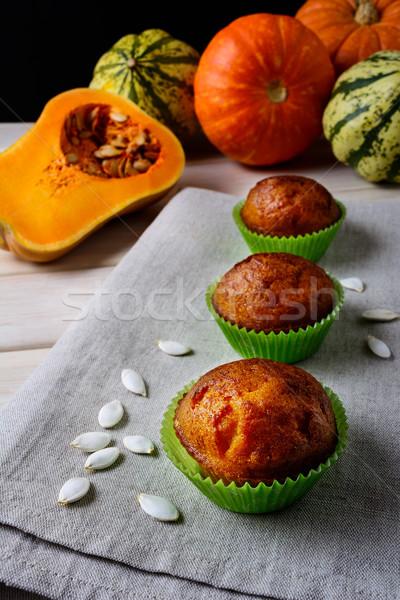 Citrouille muffins vert squash semences automne Photo stock © TasiPas