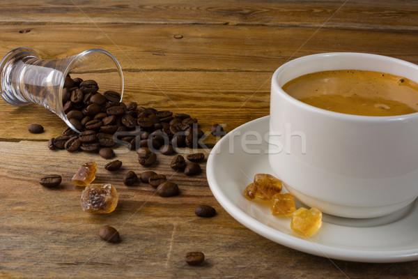 Coffee served on the linen napkin Stock photo © TasiPas