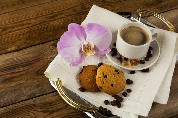 ロマンチックな コーヒー 務め 蘭 トレイ ストックフォト © TasiPas