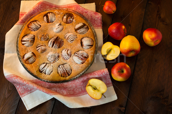 Apple pie on dark background Stock photo © TasiPas